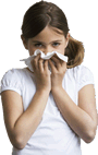 Picture of a young girl coughing