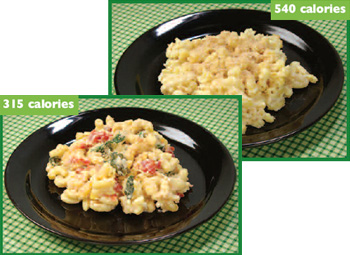 photo of 2 variations of macaroni and cheese, one with 540 calories and one with 315 calories